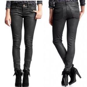 GAP Black Wax Coated Skinny Jeans